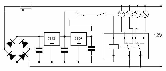 Вот схема, проще не придумать.  Две КРЕНки на 5 и 12 вольт так как релюшки бывают разные, три кондера 22мф х 35в...